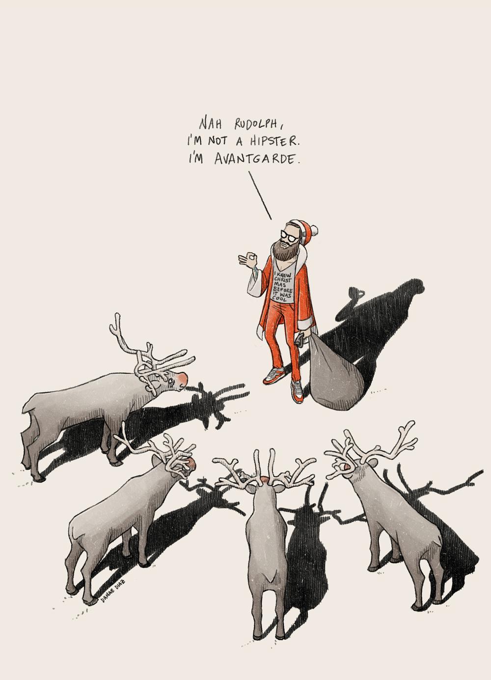 Hipster santa reindeers for Avantgarde Agency by Danae Diaz