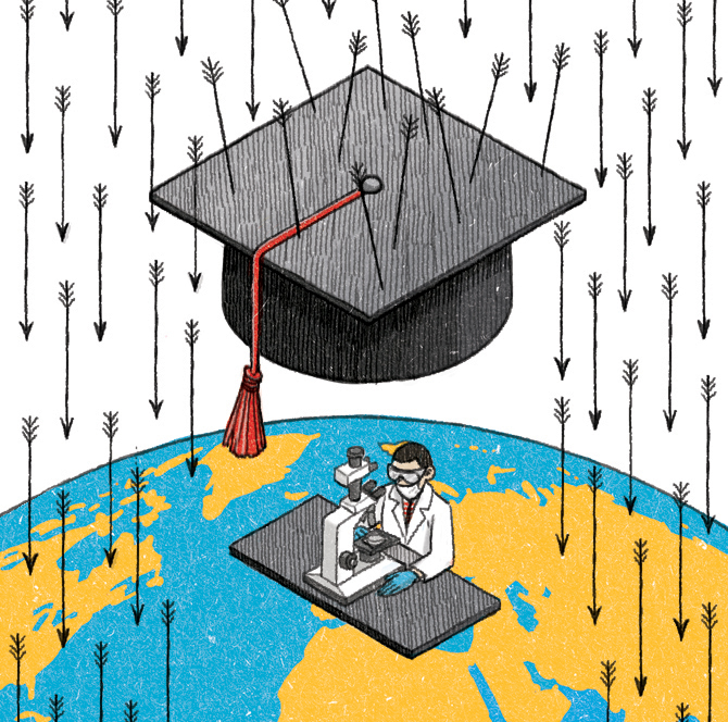 "Illustration for Campus NZZ 2/9/13 ""Karrieren retten"" by Danae Diaz"
