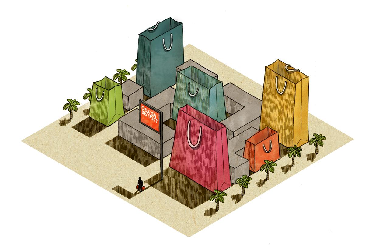 "Vinson View ""Design District Mall"" Illustration for Wallpaper* april 2013 by Danae Diaz"