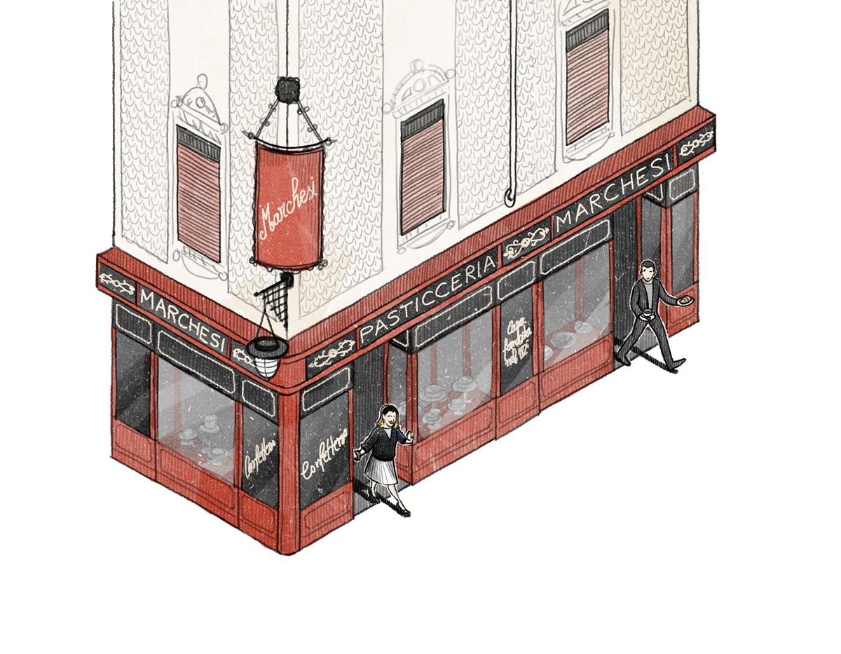 "Vinson View ""Pasticceria Marchesi"" Illustration for Wallpaper* june 2014 by Danae Diaz"