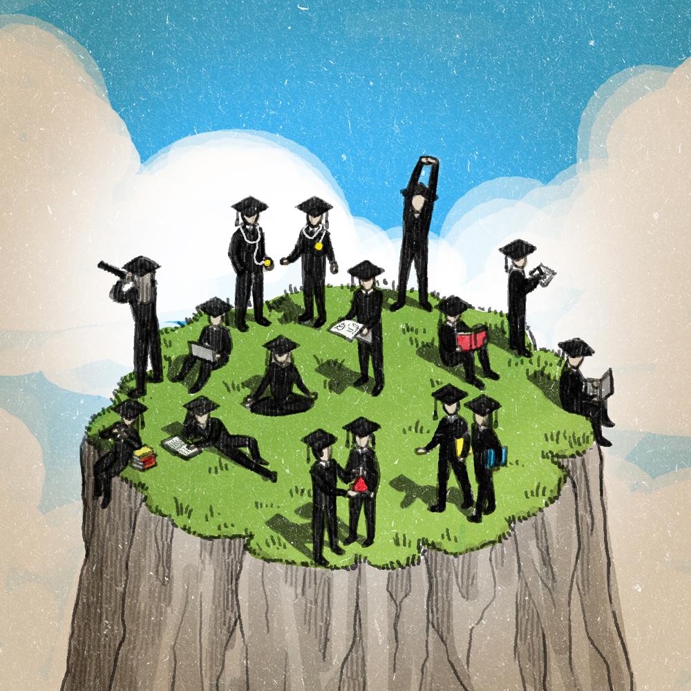 """Illustration for Campus NZZ 14/10/13 """"Freiraum-Studenten"""" by Danae Diaz"""