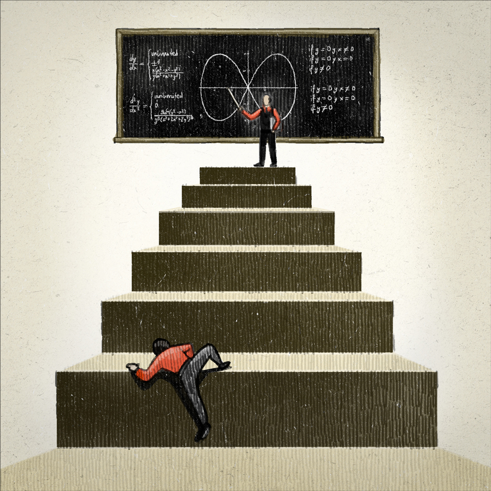 """Illustration for Campus NZZ 21/10/13 """"Stairs Math"""" by Danae Diaz"""