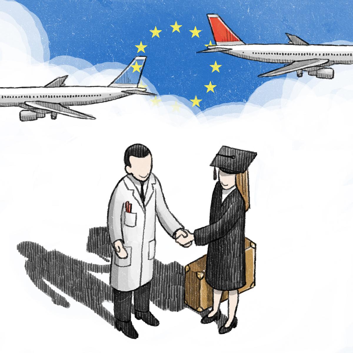 """Illustration for Campus NZZ 28/10/13 """"EU wissenschaftlicher Netzwerke"""" by Danae Diaz"""