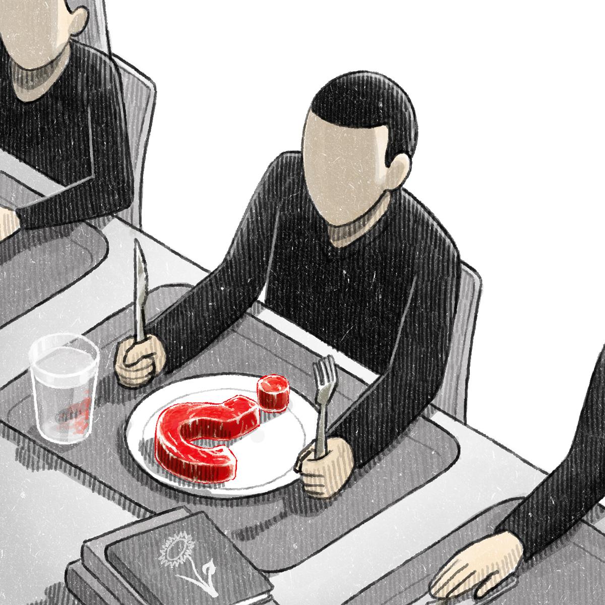 "Illustration for Campus NZZ 4/11/13 ""Vegan Student-Kantine"" by Danae Diaz"
