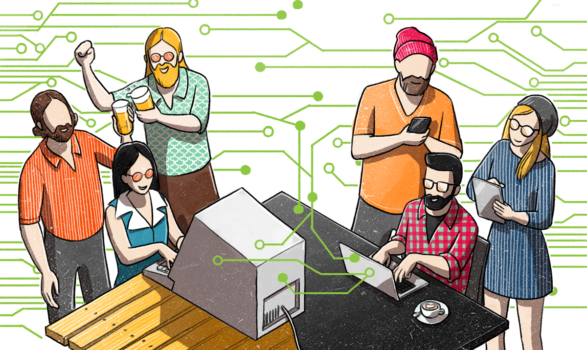 40 years internet illustration for The Guardian by Danae Diaz
