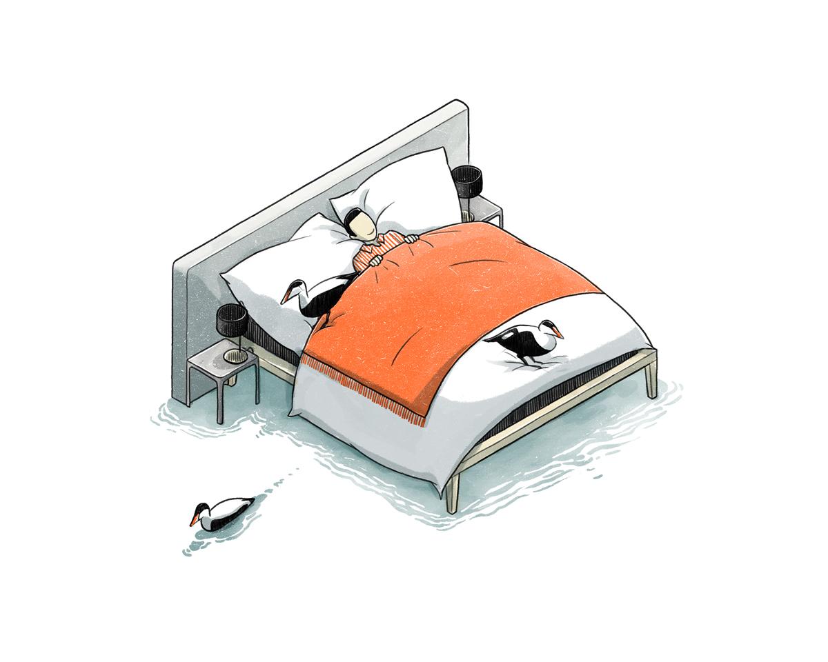 bed ducks illustration for Wallpaper* by Danae Diaz