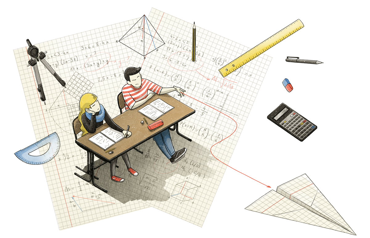 llustration for Die Zeit  about mathematics and graduation by Danae Diaz